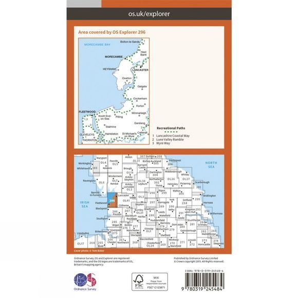 Explorer Map 296 Lancaster, Morecambe and Fleetwood