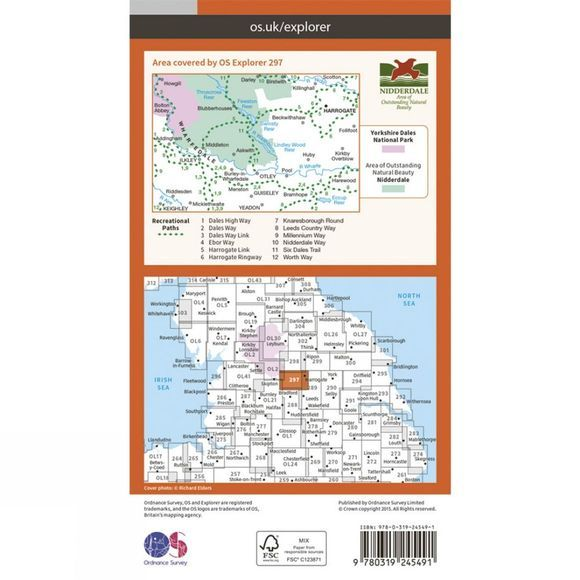 Ordnance Survey Explorer Map 297 Lower Wharfedale and Washburn Valley V15