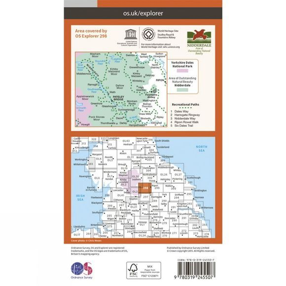 Ordnance Survey Explorer Map 298 Nidderdale V15