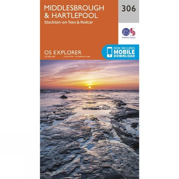 Ordnance Survey Explorer Map 306 Middlesbrough and Hartlepool V15