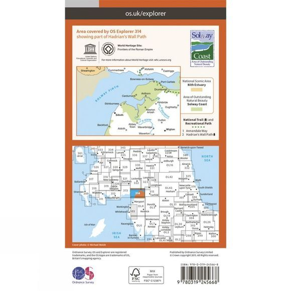 Ordnance Survey Explorer Map 314 Solway Firth V15