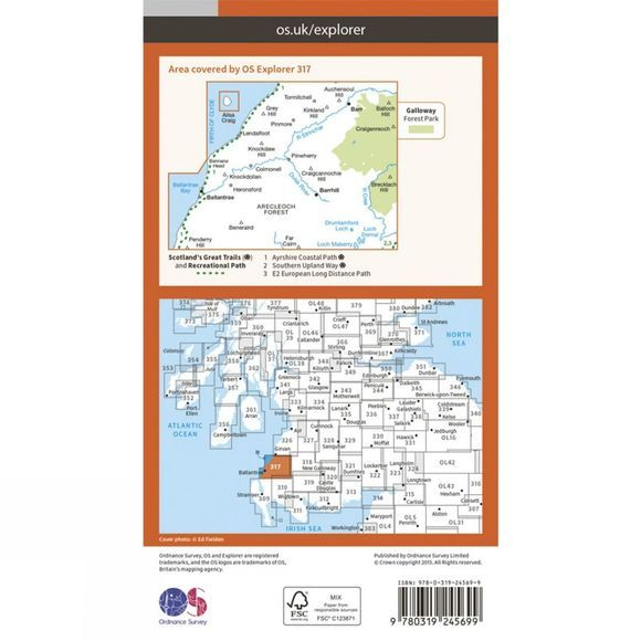 Ordnance Survey Explorer Map 317 Ballantrae, Barr and Barrhill V15