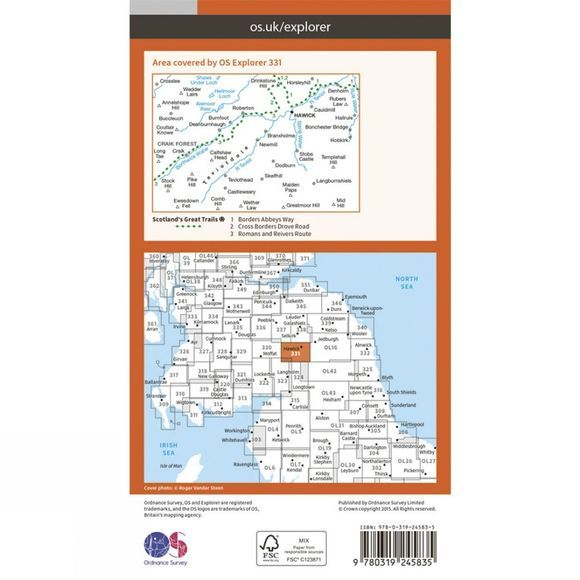 Ordnance Survey Explorer Map 331 Teviotdale South V15
