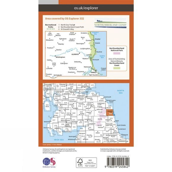 Explorer Map 332 Alnwick and Amble