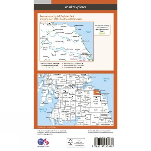 Ordnance Survey Explorer Map 346 Berwick-upon-Tweed V15
