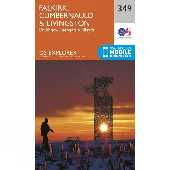 Ordnance Survey Explorer Map 349 Falkirk, Cumbernauld and Livingston V15