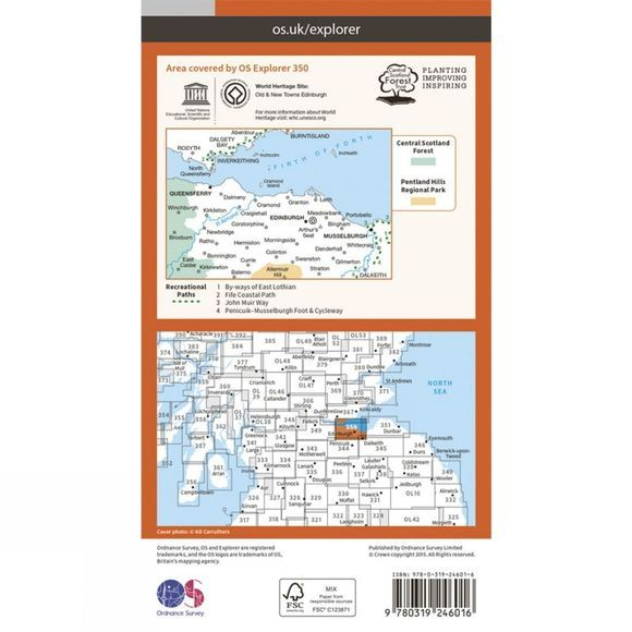 Ordnance Survey Explorer Map 350 Edinburgh V15