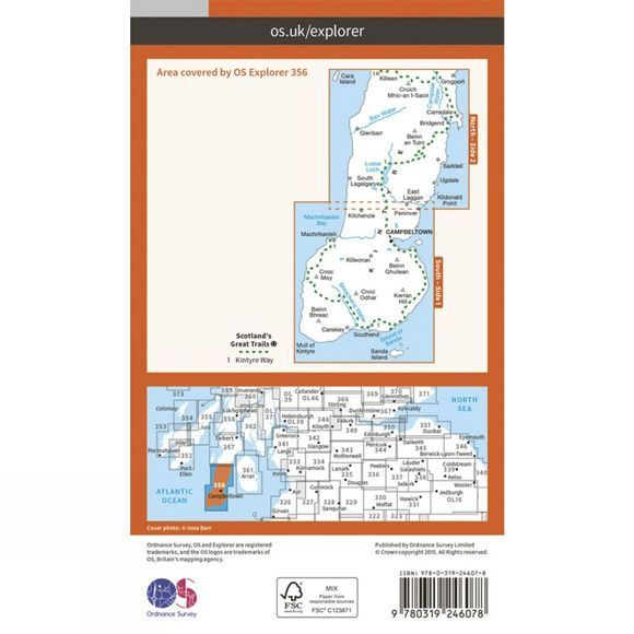 Ordnance Survey Explorer Map 356 Kintyre South V15