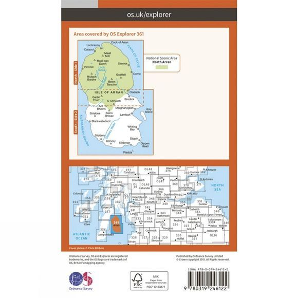 Ordnance Survey Explorer Map 361 Isle of Arran V15