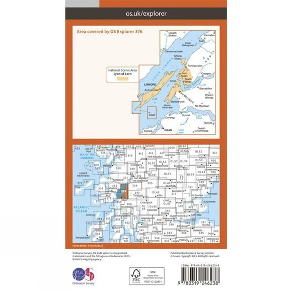 Ordnance Survey Explorer Map 376 Oban and North Lorn V15