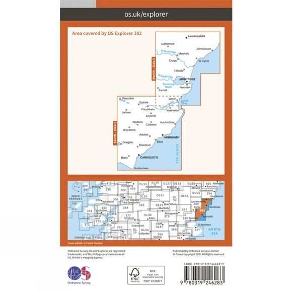 Ordnance Survey Explorer Map 382 Arbroath, Montrose and Carnoustie V15