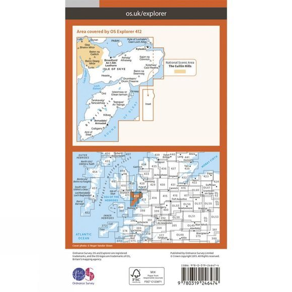 Ordnance Survey Explorer Map 412 Skye - Sleat V15