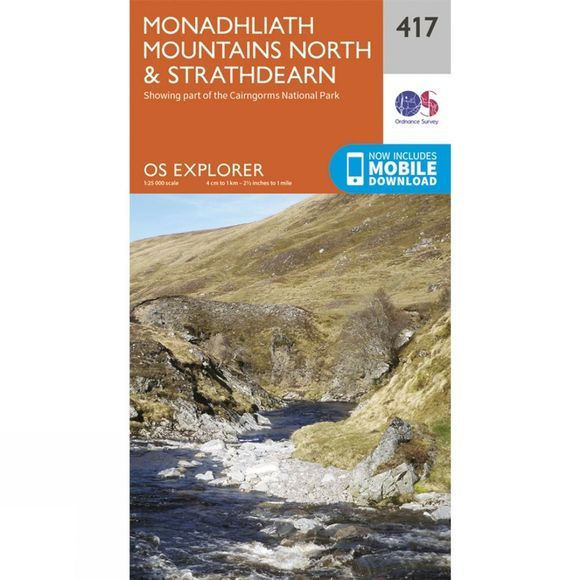 Ordnance Survey Explorer Map 417 Monadhliath Mountains North and Strathdearn V15