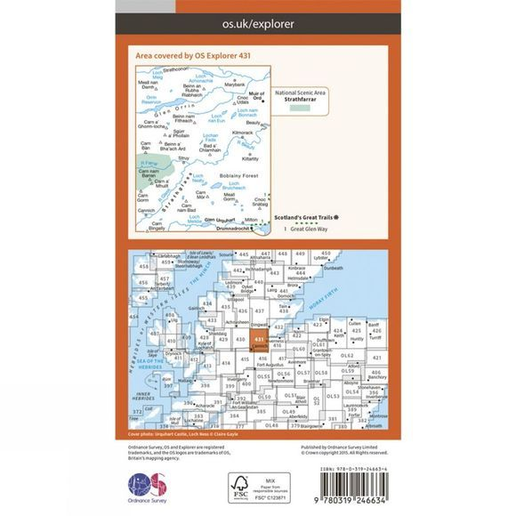 Ordnance Survey Explorer Map 431 Glen Urquhart and Strathglass V15