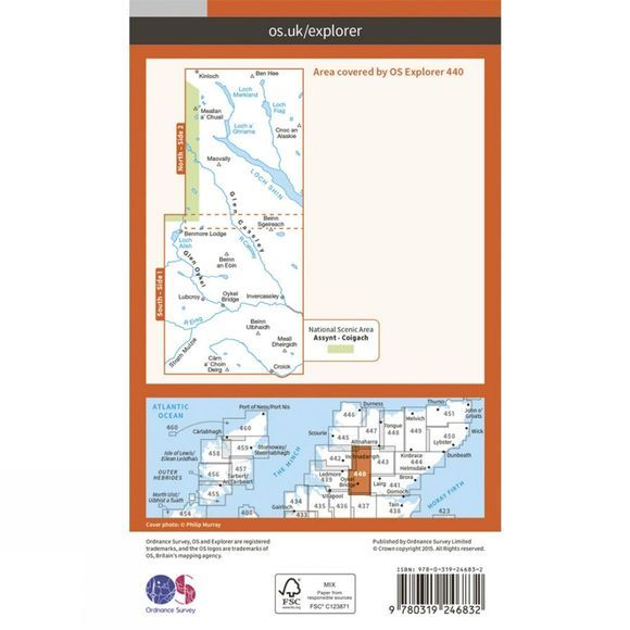 Ordnance Survey Explorer Map 440 Glen Cassley and Glen Oykel V15