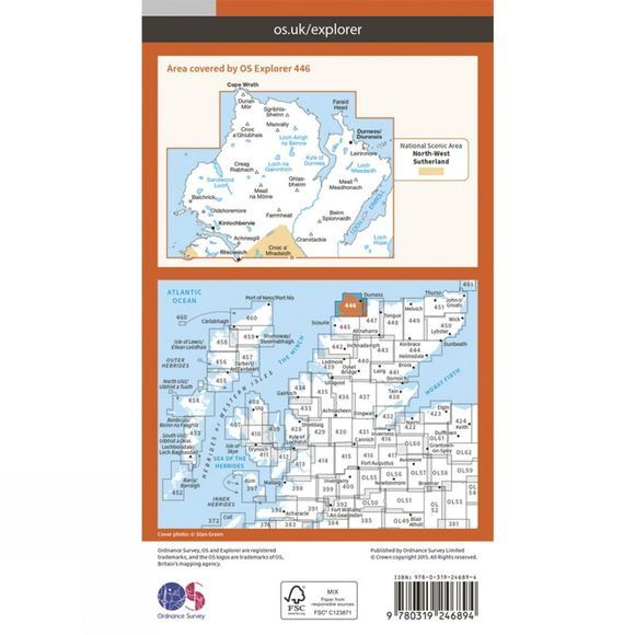Ordnance Survey Explorer Map 446 Durness and Cape Wrath V15