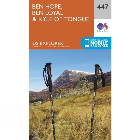 Ordnance Survey Explorer Map 447 Ben Hope, Ben Loyal and Kyle of Tongue V15