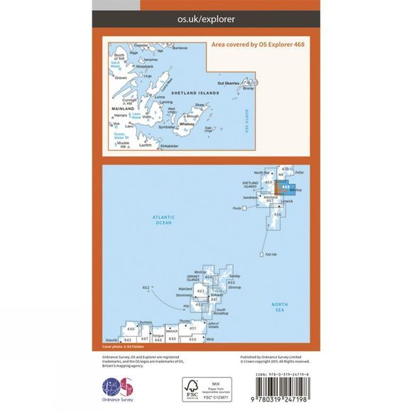 Ordnance Survey Explorer Map 468 Shetland - Mainland North East V15