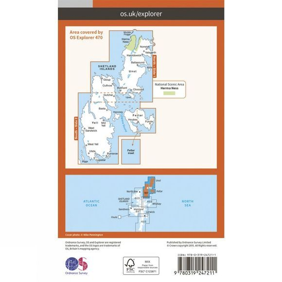 Ordnance Survey Explorer Map 470 Shetland - Unst, Yell and Fetlar V15