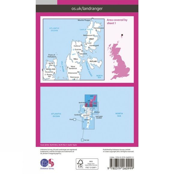 Landranger Map 01 Shetland - Yell, Unst and Fetlar