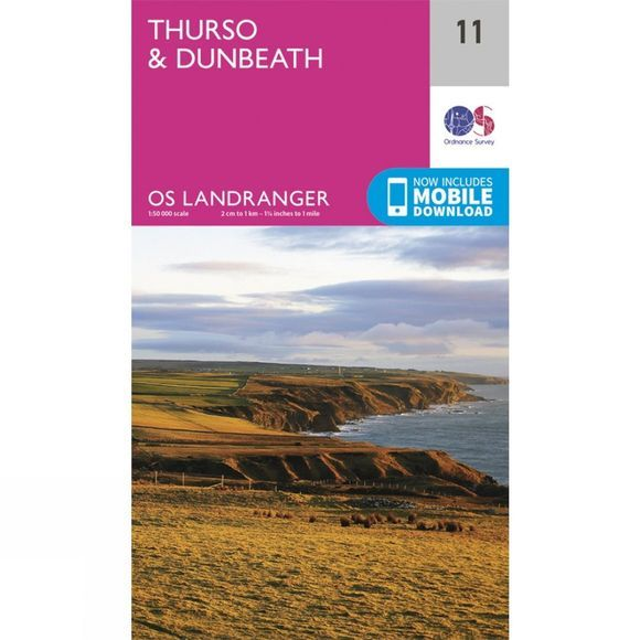 Ordnance Survey Landranger Map 11 Thurso and Dunbeath V16