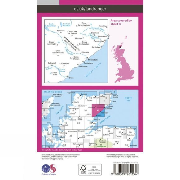 Ordnance Survey Landranger Map 17 Helmsdale and Strath of Kildonan V16