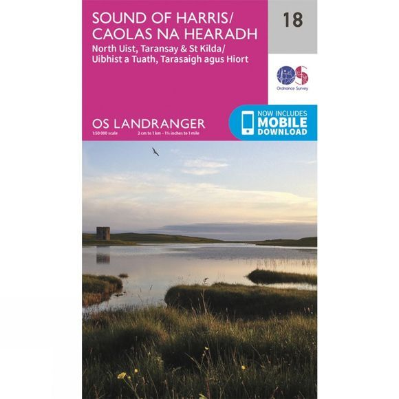 Ordnance Survey Landranger Map 18 Sound of Harris V16