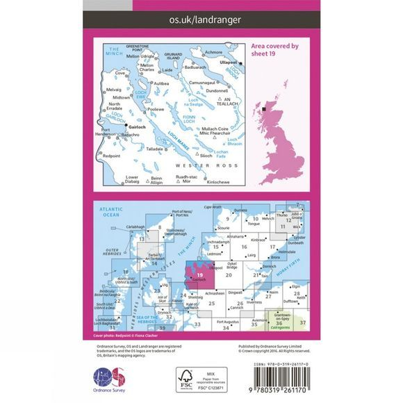 Ordnance Survey Landranger Map 19 Gairloch and Ullapool V16