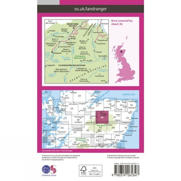 Ordnance Survey Landranger Map 36 Grantown and Aviemore V16