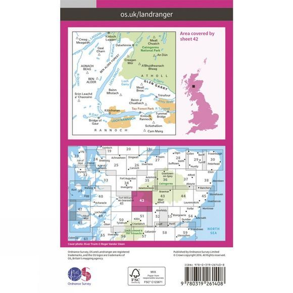 Ordnance Survey Landranger Map 42 Glen Garry and Loch Rannoch V16