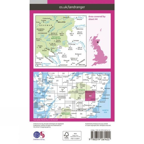 Landranger Map 44 Ballater and Glen Clova