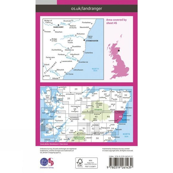 Landranger Map 45 Stonehaven and Banchory
