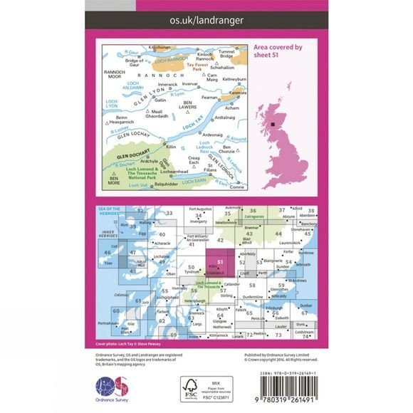 Ordnance Survey Landranger Map 51 Loch Tay and Glen Dochart V16