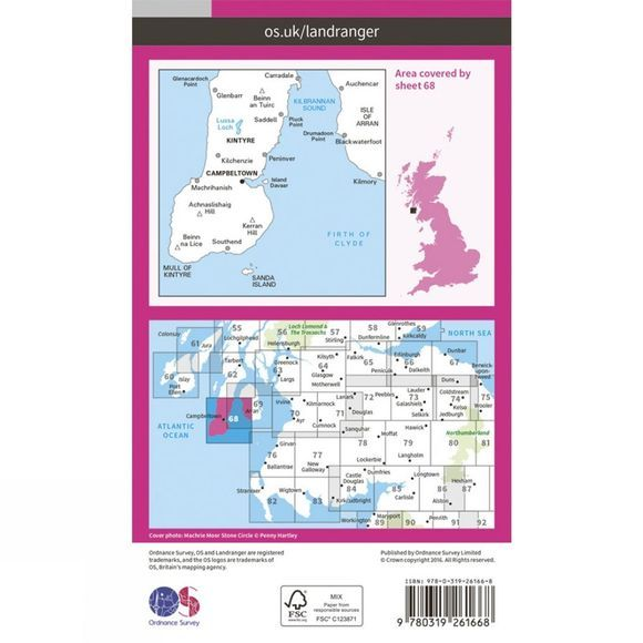 Ordnance Survey Landranger Map 68 South Kintyre and Campbeltown V16