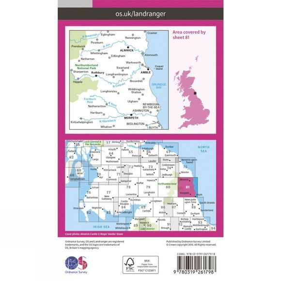 Ordnance Survey Landranger Map 81 Alnwick and Morpeth V16