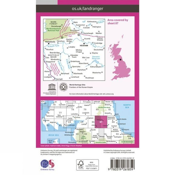 Ordnance Survey Landranger Map 87 Hexham and Haltwhistle V16