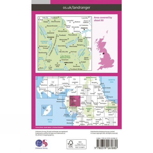 Ordnance Survey Landranger Map 90 Penrith and Keswick V16
