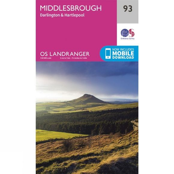 Ordnance Survey Landranger Map 93 Middlesbrough V16