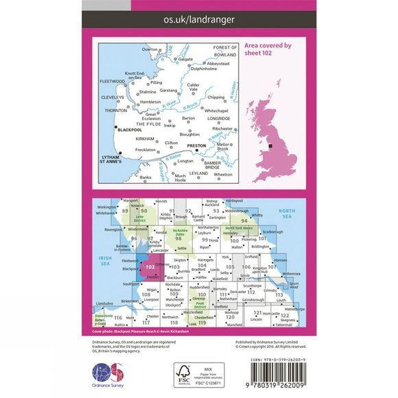 Ordnance Survey Landranger Map 102 Preston and Blackpool V16