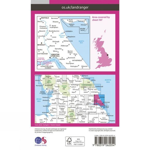 Ordnance Survey Landranger Map 107 Kingston upon Hull V16
