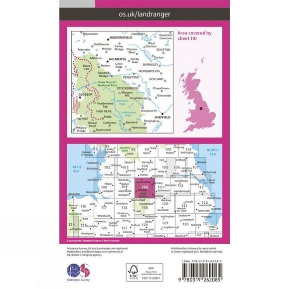 Ordnance Survey Landranger Map 110 Sheffield and Huddersfield V16