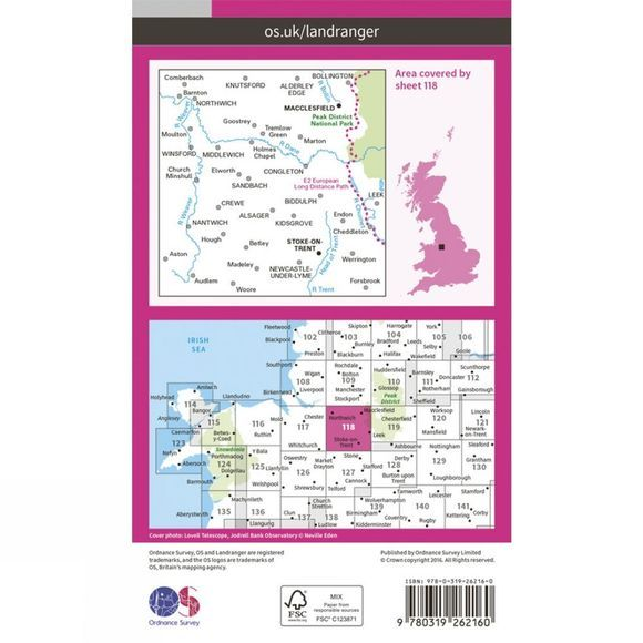 Landranger Map 118 Stoke-on-Trent and Macclesfield