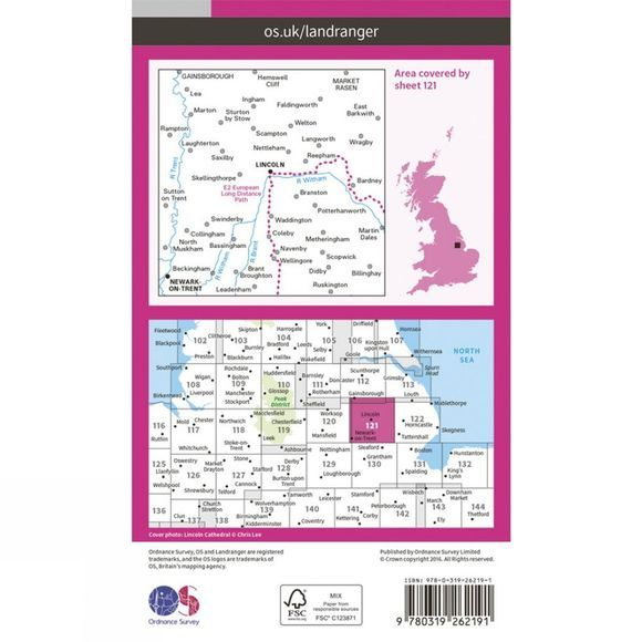 Ordnance Survey Landranger Map 121 Lincoln and Newark-on-Trent V16