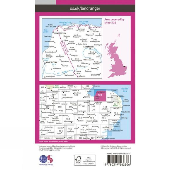 Ordnance Survey Landranger Map 132 North West Norfolk V16