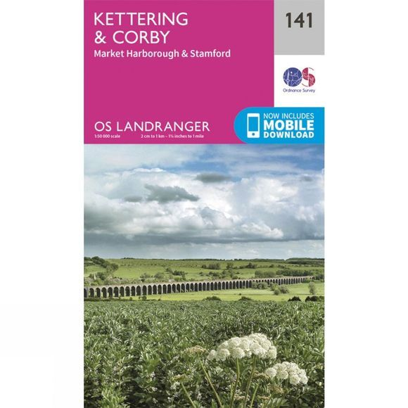 Ordnance Survey Landranger Map 141 Kettering and Corby V16