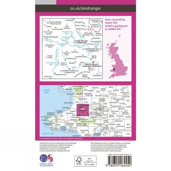 Ordnance Survey Landranger Map 147 Elan Valley and Builth Wells  V16