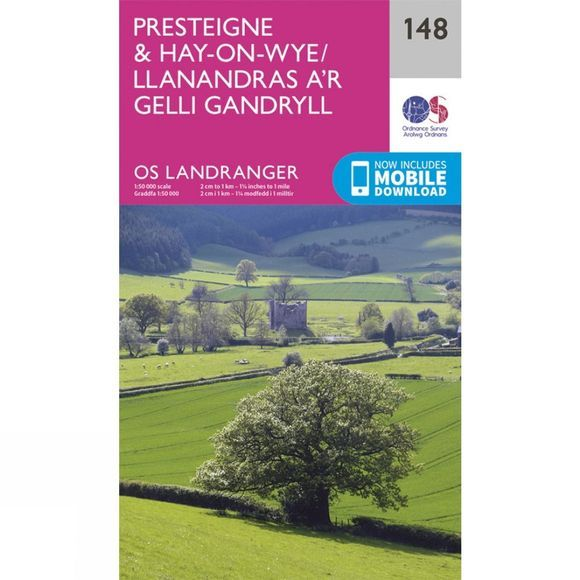 Ordnance Survey Landranger Map 148 Presteigne and Hay-on-Wye V16