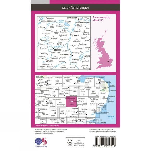 Ordnance Survey Landranger Map 153 Bedford and Huntingdon V16