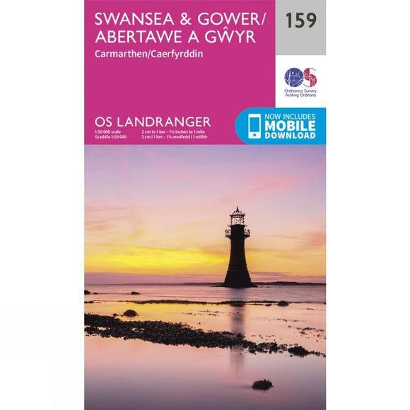 Ordnance Survey Landranger Map 159 Swansea and Gower V16