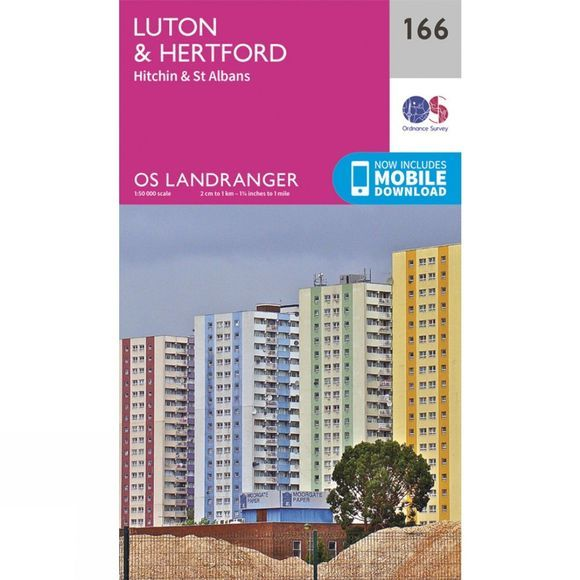 Ordnance Survey Landranger Map 166 Luton and Hertford V16